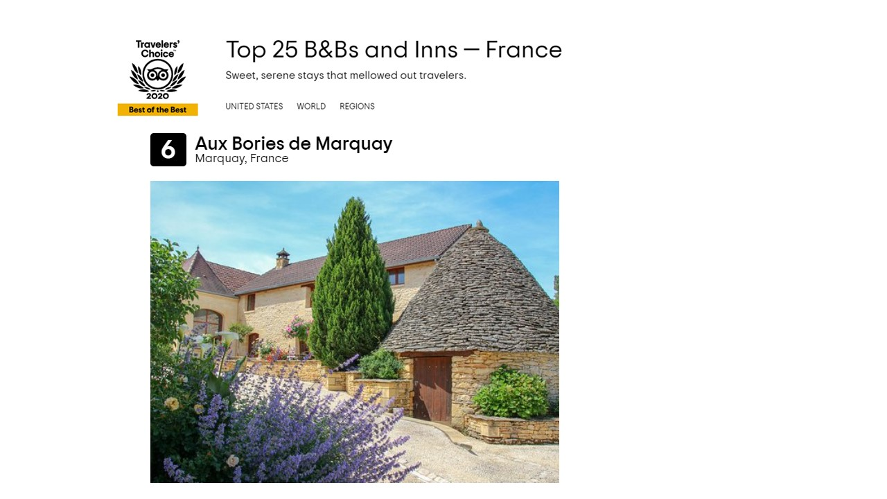 Aux Bories de Marquay awarded with Travelers' choice Best of the Best 2020 – We are in the TOP 10 of the best guest houses in France