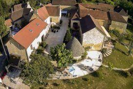 Vue aérienne de la maison d'hôtes proche de Sarlat